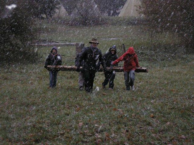 travail d'équipe sous la neige