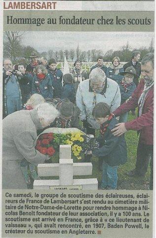 article sur l'hommage de Nicolas Benoit voix du nord lambersart 27 decembre 2011